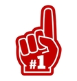 Number 1 one sports fan foam hand with raising vector image vector image