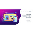 online prescription system concept landing page vector image vector image