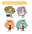 People in kitchen vector image vector image
