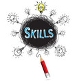 red pencil idea concept blue skill education and vector image vector image