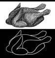 roasted chicken hand drawn sketch vector image