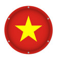 round metallic flag of vietnam with screws vector image