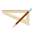 ruler and pencil school supplies icon and logo vector image