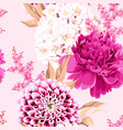 seamless pattern with pink vintage flowers vector image