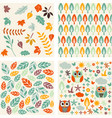 set of autumn forest patterns vector image vector image