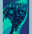 skulls king and queen love skull couple vector image