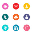 snowflake icons set flat style vector image