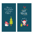 snowman christmas tree santa claus vector image