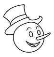 snowman face christmas cartoon vector image vector image