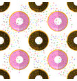 sweet glazed colorful donut seamless pattern on vector image vector image