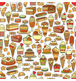 sweets seamless pattern cute various vector image