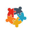 teamwork people jigsaw puzzle five person pieces vector image vector image