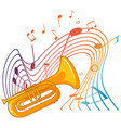 trumpet musical instrument with melody symbols vector image