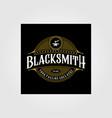 vintage blacksmith forge logo anvil design vector image vector image