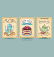 vintage posters bakery and tea vector image vector image