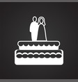 wedding cake icon on black background for graphic vector image vector image