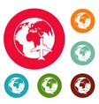 world tourism icons circle set vector image vector image