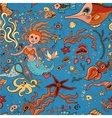 Underwater seamless pattern of sea life elements vector image