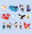 mythical creatures isometric icons vector image