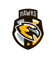 colorful logo sticker emblem of a hawk flying vector image