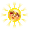 sun with happy smile vector image