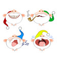 set of funny emoticons colorful santa clauses vector image
