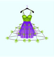 ultraviolet and fresh green party dress with flowe vector image