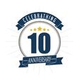 10 Year Celebrating Anniversary graphic vector image