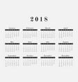 2018 year calendar horizontal design vector image vector image