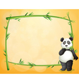 A panda standing at the right side of a bamboo vector image vector image
