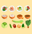 avocado and dishes collection vector image