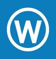 basic font letter w icon design vector image vector image