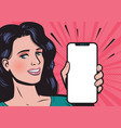 beautiful young woman with smartphone mobile app vector image vector image