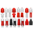 big collection of culinary clothing white and red vector image vector image