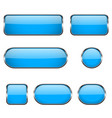 blue glass oval round square buttons with chrome vector image