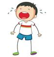 Boy crying vector image vector image
