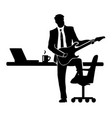 businessman silhouette with a guitar a successful vector image vector image