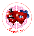Cartoon of two loving hearts vector image vector image