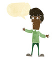 cartoon startled man with speech bubble vector image vector image