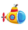 cartoon yellow and red submarine vector image