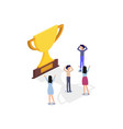 champion cup with people in isometric design vector image