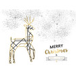christmas and new year abstract gold line deer vector image vector image