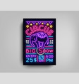 circus flyer in neon style circus show vector image vector image