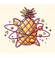 colorful yellow pineapple with elements a vector image vector image