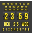 countdown timer and date calendar scoreboard vector image