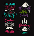 cute christmas calligraphy quotes set colorful vector image vector image