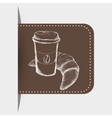 drawing breakfast plastic cup coffee croissant vector image