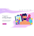drug allergy concept landing page vector image vector image