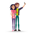 female with rose flower and male makes selfie vector image