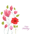 Floral background Floral card watercolor poppies vector image vector image
